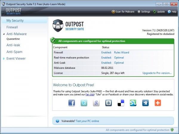 Antivirus e Firewall gratis per PC Windows - Agnitum Outpost Security Suite Free