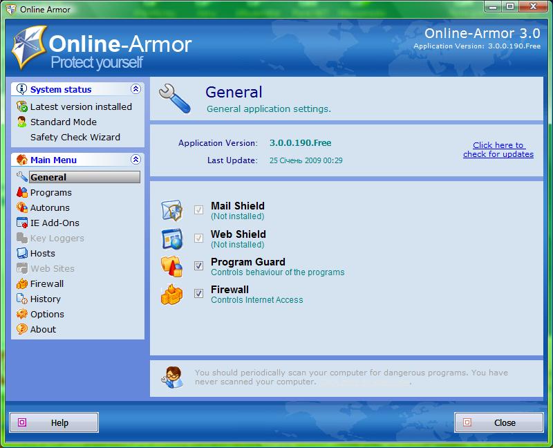 Firewall gratis 2013 - Online Armor Free - Scaricare Download miglior firewall gratis per PC Windows