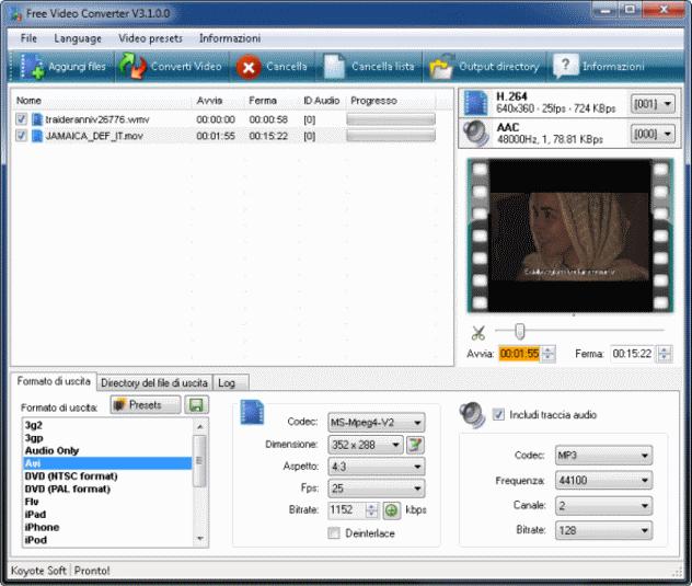 Koyote Soft Free Video Converter - programma gratis e semplice per convertire file video in altri formati