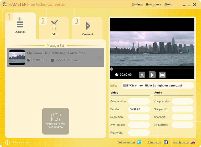 Miglior programma conversione video e film - Hamster Free Video Converter