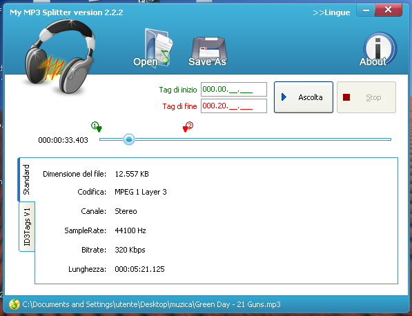 My Mp3 Splitter - programma per tagliare canzoni audio MP3 - Download miglior programma per modificare e tagliare tracce audio MP3