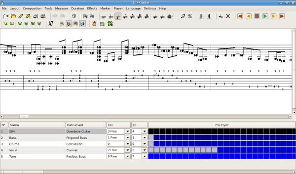 TuxGuitar - Programma per comporre musica - programma per creare spariti musicali professionali gratis