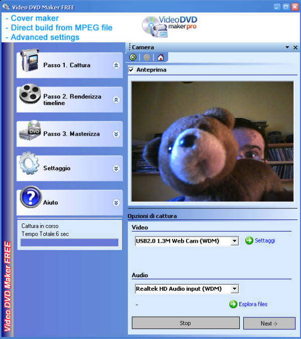 Video DVD Maker free - programma per acquisizione video da videocamera webcam gratis