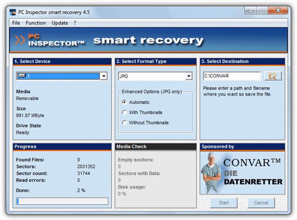 Pc inspector Smart Recovery - Download miglior programma gratis per recupeare foto cancellate da memory card e flash drive