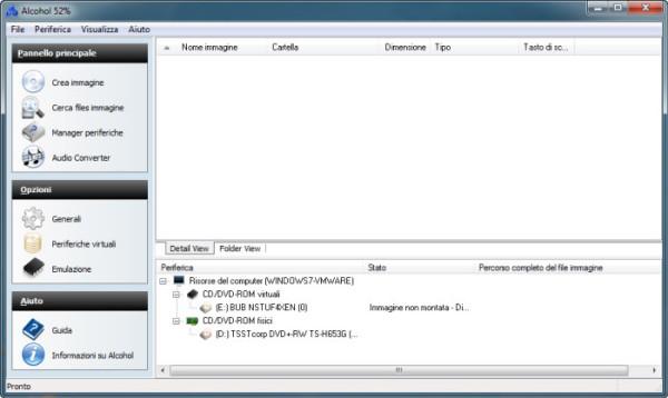 Alcohol 52% free - programma per creare e montare file ISO - programma gratis per per simulare un CD o DVD su PC